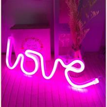 Led veilleuse batterie USB charge amour lettres décoratives vacances flamant rose Cactus coeur nuage nuit lampe enfants cadeaux