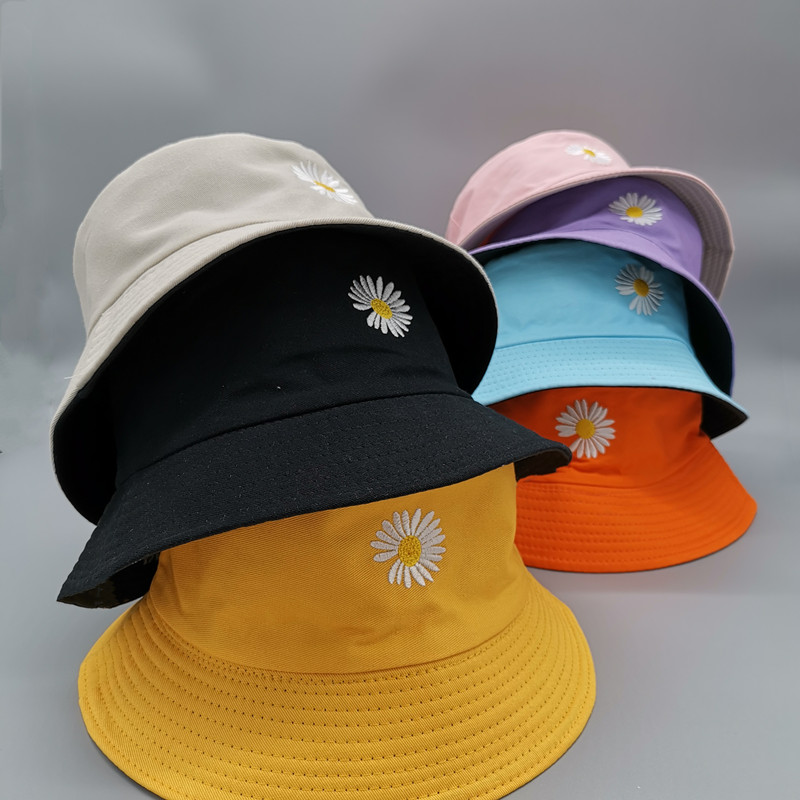 Double-side Unisex Harajuku Bucket Hat Fishing Outdoor Cap women Bucket fishing Hats Sunscreen Daisy embroidery fisherman hat