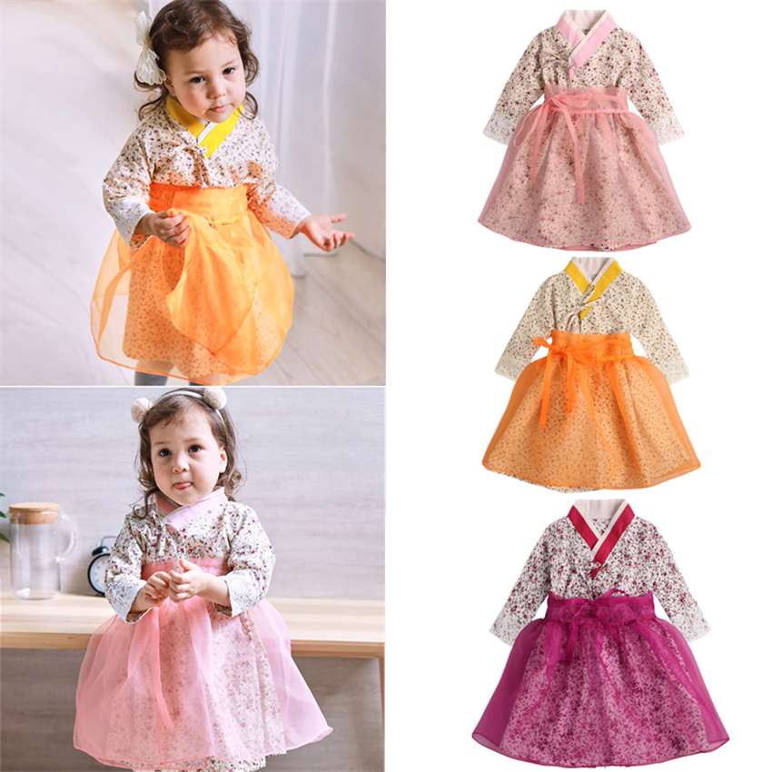 New Baby Girls Traditional Korean Hanbok Fashion Style Dress Cotton Long Sleeve Print 1-6 Years Old Child Asian Clothing