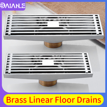 Bathroom Shower Floor Drain Brass Linear Floor Drains Tile Insert Channel Lengthen Drainer Cover Anti-odor Floor Waste Grates 60 10cm floor drain zipper style stainless steel 304 linear shower drain vertical long drain flange origin guangdong china