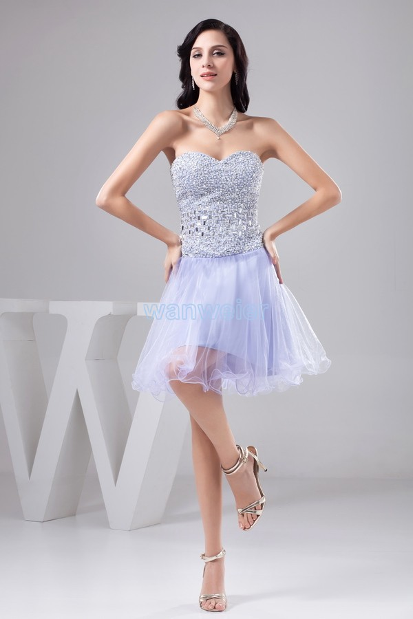 Free Shipping 2015 New Design Hot Sale Sexy Sweetheart Beading Crystal Gown Organza A-line Short Custom Knee-length Prom Dresses