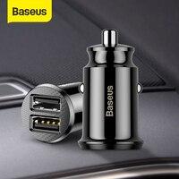 Автомобильное зарядное устройство Baseus 12V Dual USB 3.1A Быстрая зарядка для Iphone Samsung Mini USB Авто зарядка автомобильное зарядное устройство аксессуа...