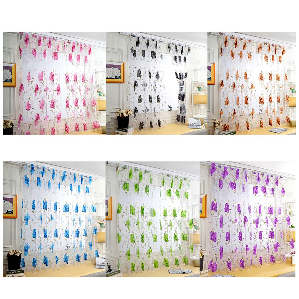 Hot Home Textile Flower Embroidered Luxury 3D Window Curtains Fabric Tulle Sheer Curtains For kitchen Bedroom Living Room