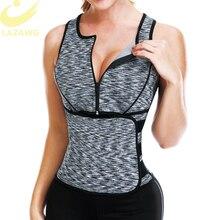 LAZAWG Vrouwen Sauna Zweet Neopreen Top Taille Trainer Body Shaper Hot Thermo Vest Afslanken Shapewear Shirt Zweet Sport Shirt