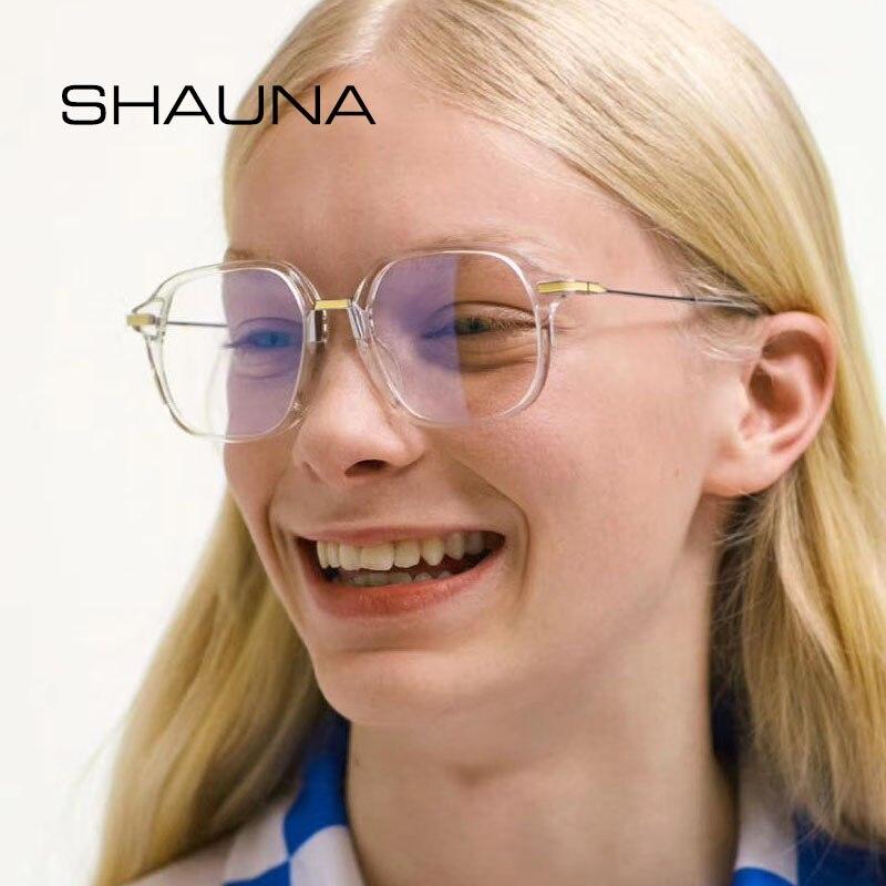 SHAUNA Anti-Blue Light Retro Square Eyeglasses Frame Women Oversize Glasses Frame Men