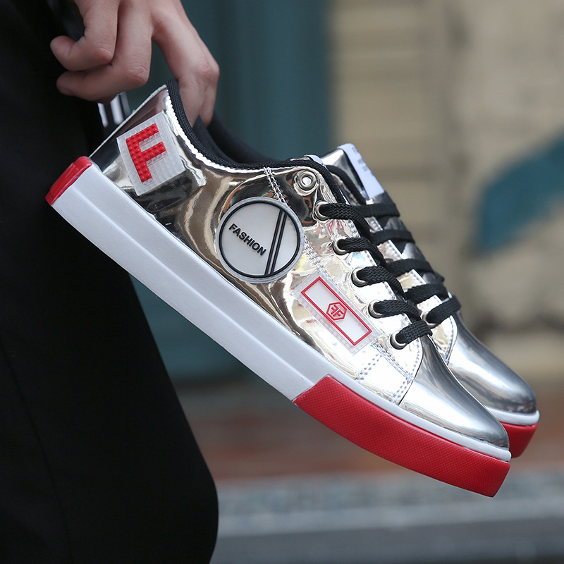 Men Hip Hop Shoes Shiny Silver Trainers Leather Black Personality Gold Street Male Black Bright Glitter Sneakers Bling Footwear