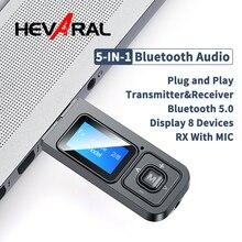 5 IN 1 USB Dongle Bluetooth 5.0 ses alıcı verici ile LCD ekran Mini 3.5mm AUX RCA kablosuz adaptörü için MIC ile TV
