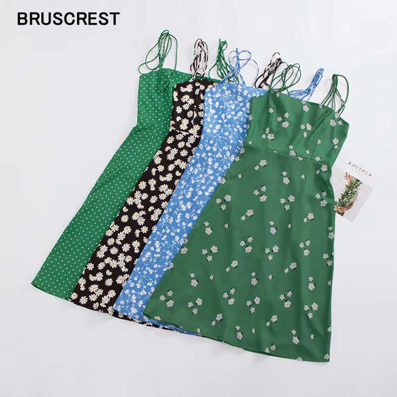 Vintage floral polka dot blue green elegant dress sleeveless Summer dress beach floral midi dress cami sundress sexy vesitdos