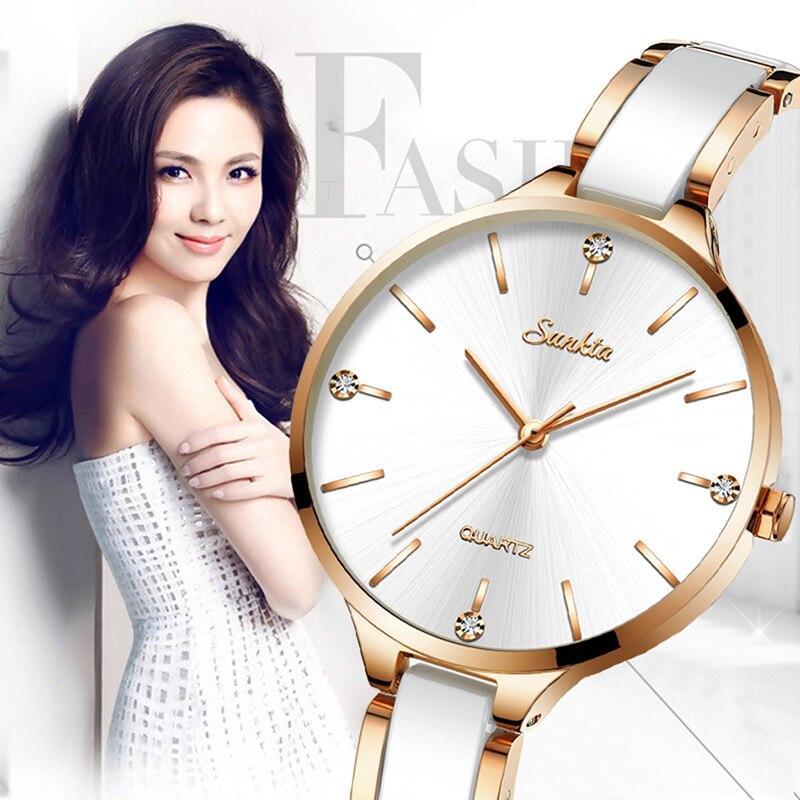 Femmes montres femmes montre de mode 2019 dames montre de luxe marque diamant Quartz montre-bracelet cadeaux pour les femmes en céramique femmes montre