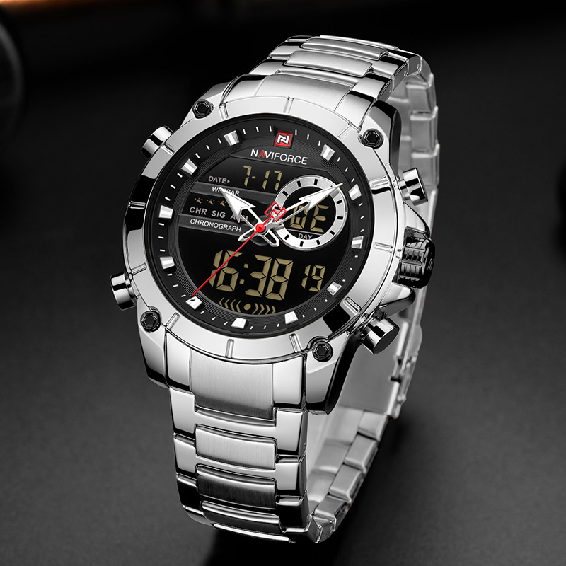 Image 4 - Naviforce Luxury Male Watch with Luminous Dial Digital Quartz Top Brand Man Watches 2019 Brand Luxury Men's Watch Dual Display-in Quartz Watches from Watches