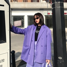 Casual Loose Women Suit Jacket Retro Solid Purple Stylish Jacket Korean High Street Simple Spring Women Party Jacket MM60NXZ