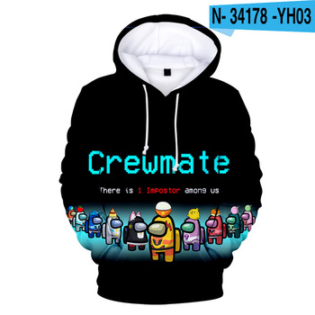 New Autumn Winter Tops Funny Print Among Us Hoodie Cartoon 3D Printed Pullover Sweatshirt Adult Harajuku Anime Pullover 12
