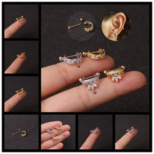 New Silver Gold Color CZ Studs Earrings Simple Small Zircon Fashion Crystal Earring Women Girl Jewelry Gifts