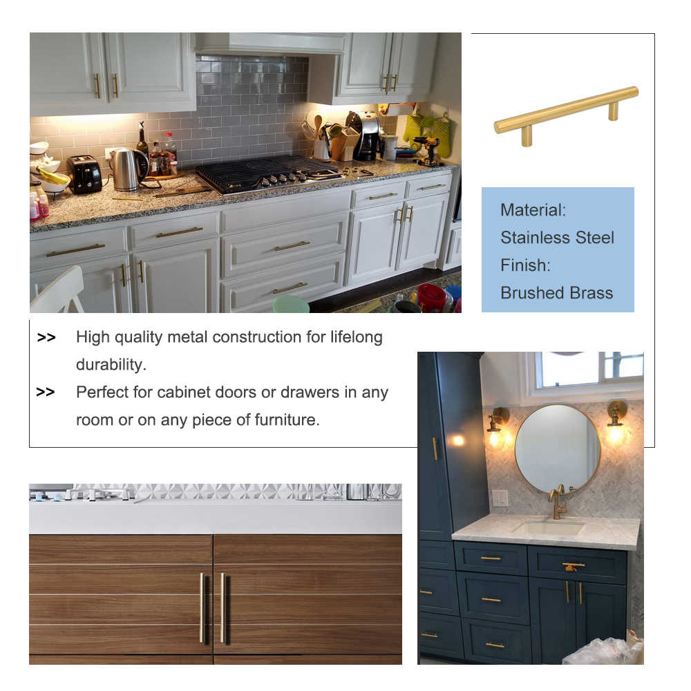 para armario caj/ón cocina Tirador Goldenwarm/® de acero inoxidable cepillado ancho del tubo 12/mm x 12/mm