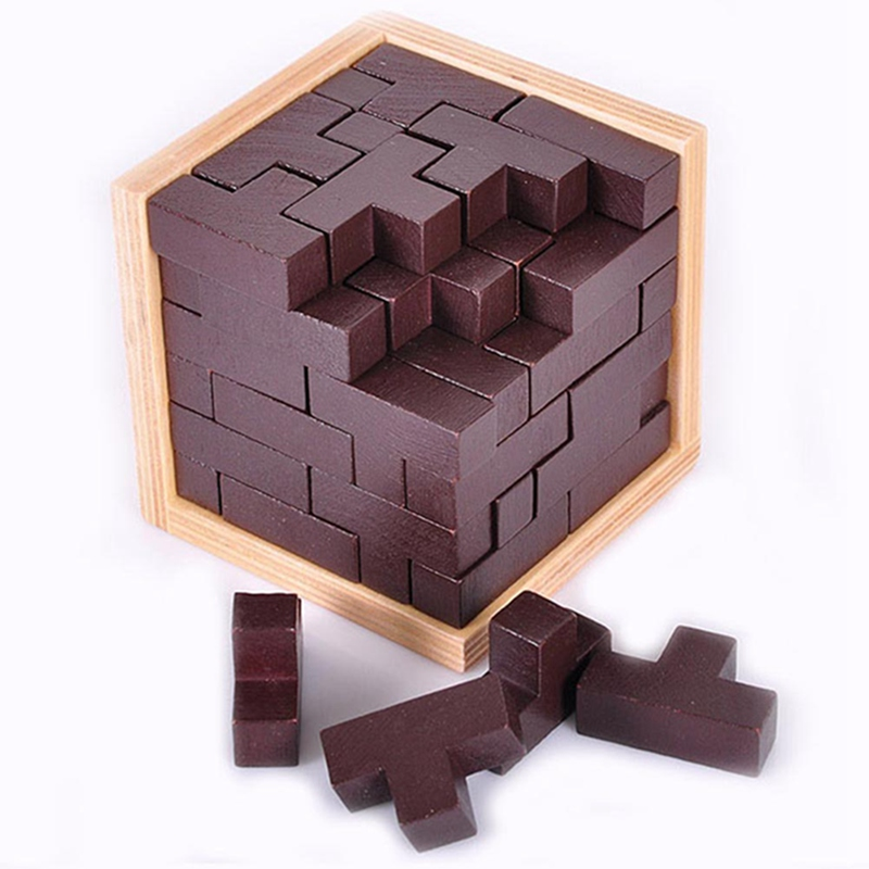 3D Puzzle Wooden Cube Toy , Russia Ming Luban Interlocking Wooden Game Toy To Improve IQ Brain For Kid Educational Toy