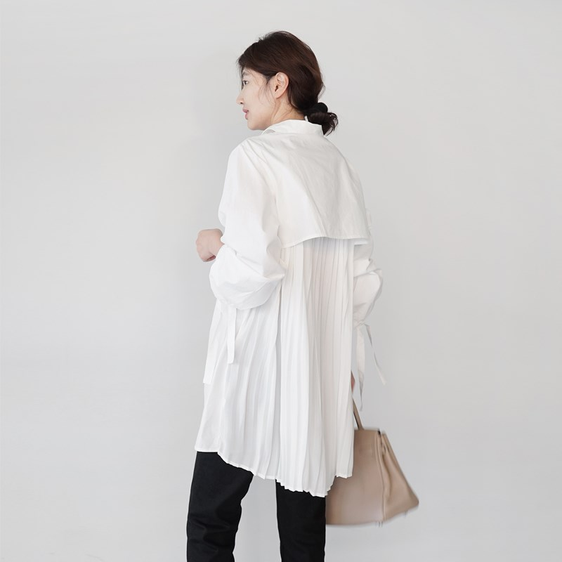 2020 Spring Korean-style Office Lady Shirts Mid-length Loose-Fit Solid Color Long-sleeved Shirt Women's Loose Casual Shirts