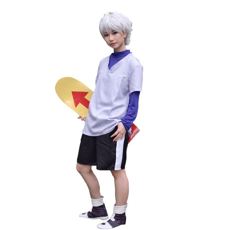 Hunter x hunter cosplay killua zoldyck cosplay traje para adultos das mulheres dos homens crianças roupas de halloween feito sob encomenda