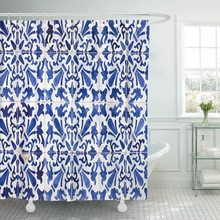 Azul Vintage tradicional adornado portugués Azulejos colorido cerámica ducha cortina impermeable tela 60x72 pulgadas Set