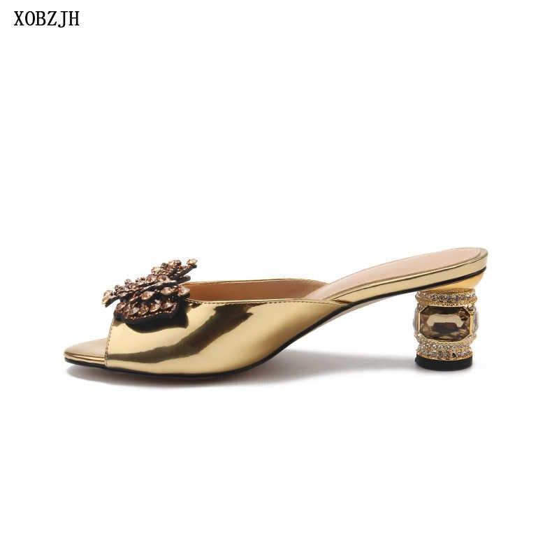 מותג נעלי מעצב קיץ סנדלי נשים יוקרה 2019 קצר עקבים סנדלי מבוגרים ליידי יוקרה חתונה מסיבת בוהן פתוח בתוספת גודל