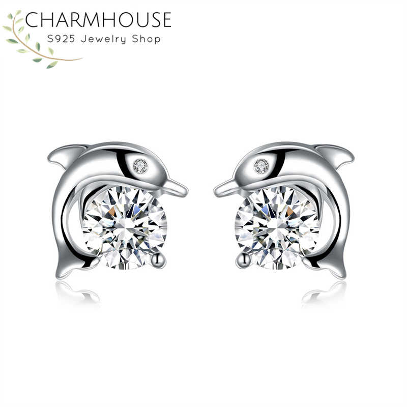 Charmhouse 925 Silver Stud Earrings for Women Zirconia Dolphin Earing Wedding Bridal Jewelry Brincos Accessories Wholesale