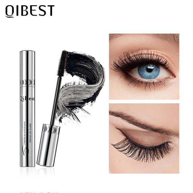 QIBEST Black Mascara Eyelashes Mascara 4D Silky Eyelashes Lengthening Eyelashes Makeup Waterproof Mascara Volume Eye Cosmetics 5