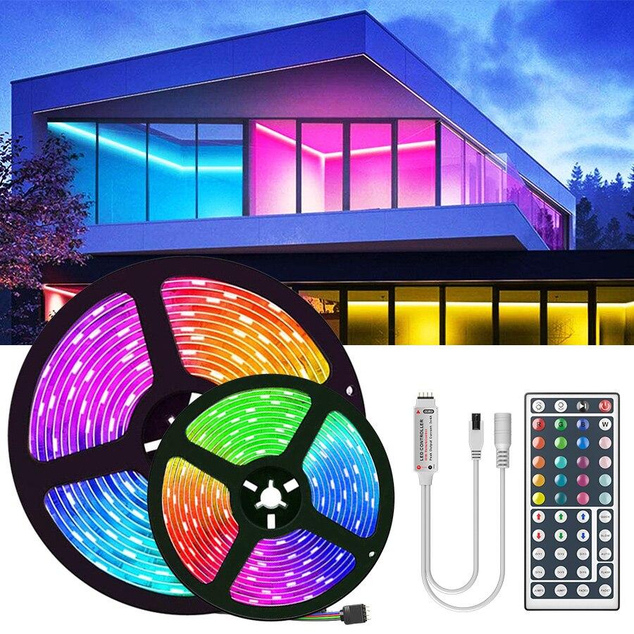 1M 2M 3M 5M 10M 20M Led Strip 3528 SMD RGB Leds Flexible Ribbon Led Strip Light with 44Key Remote Controller Dc 12V Adapter