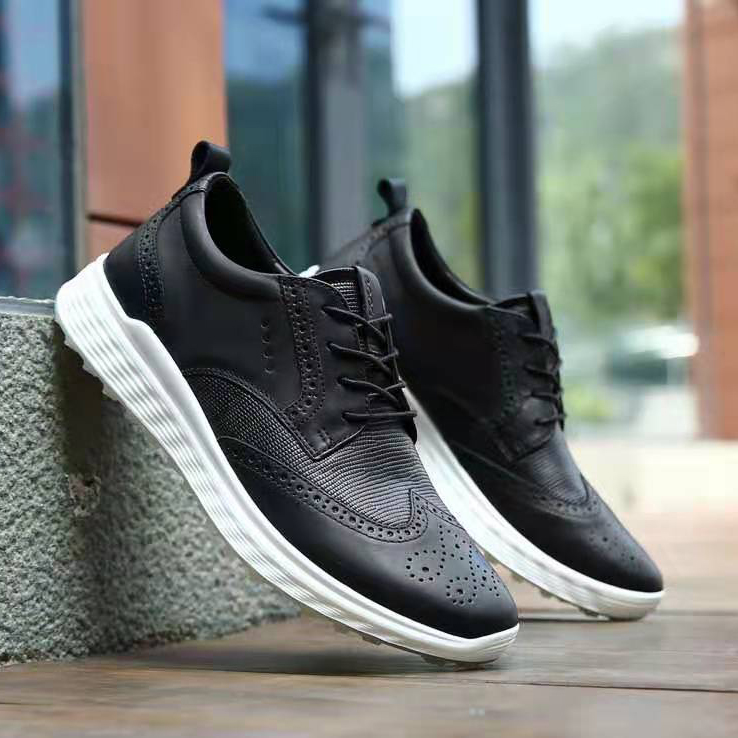 Britian Golf Shoes England Golf Sport Sneakers Businessman Club Shoes Non Slip Grass Walking Sneakers Golf Leather Black White