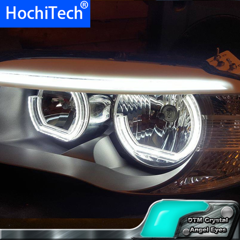 White Crystal DTM Style <font><b>LED</b></font> Angel Eyes Halo Rings Light kits For <font><b>BMW</b></font> 3 Series <font><b>F30</b></font> F31 F34 2012-up halogen <font><b>headlight</b></font> Car styling image