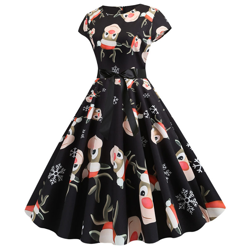 Women Christmas Party Dress robe femme Plus Size Elegant Vintage Short Sleeve Xmas Summer Dress Black Casual Midi Jurken Vestido 778