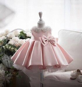 Атласное платье принцессы с бантом и бусинами, белое свадебное платье-пачка, вечерние платья на день рождения, детское платье для девочек, о...