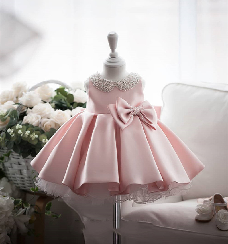 Satin Bead Bow Princess Dress White Wedding Tutu Dress Birthday Evening Party Dress Baby Dress For Girl Clothes 1 Year WG-003