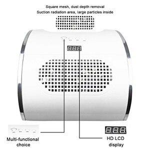 Image 4 - Sèche linge 80W 2 en 1, appareil de manucure avec aspiration sous vide, avec ventilateur et collecteur de poussière dongles, outil lampe à UV LED