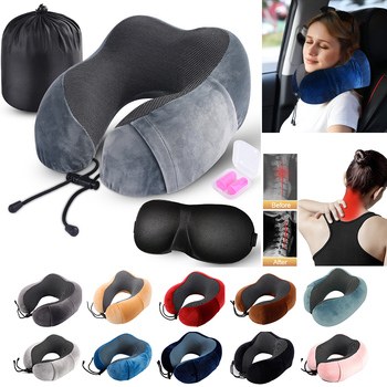 Memory Foam Pillow U-Shape Travel Pillow Neck For Airplane Car Flight Head Chin Support Cushion Office Nap Pillows For Sleep image