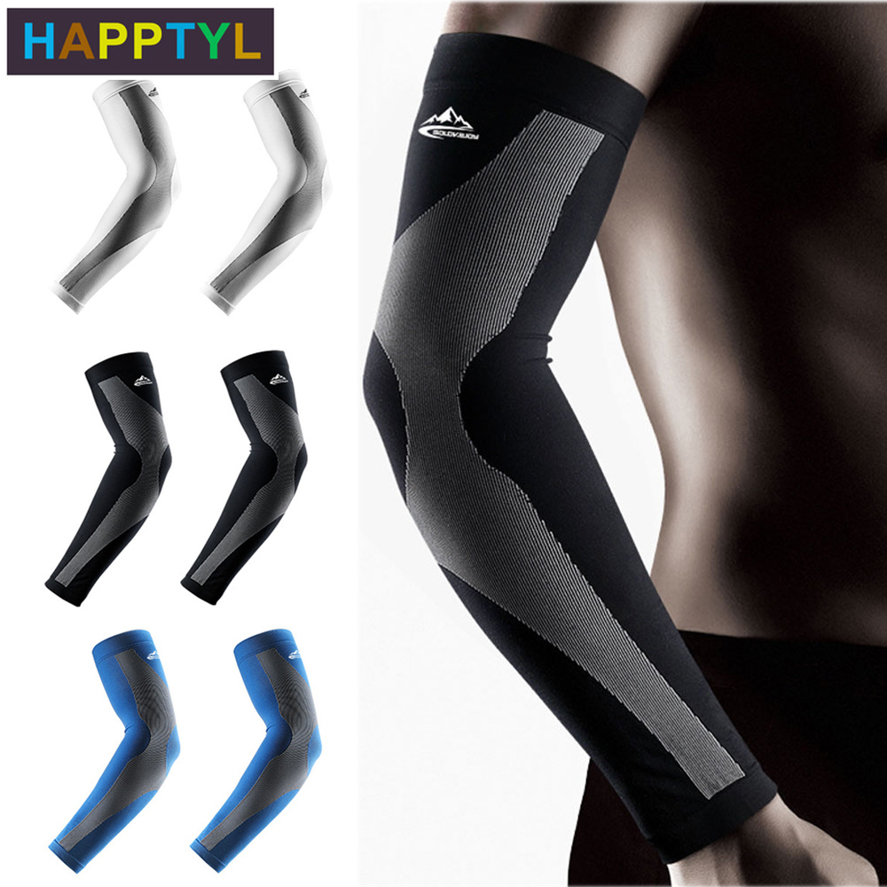 HAPPTYL 1Pair UV Protection Arm Sleeves With Anti-Slip Tattoo Covers Compression Sunblock Ice Silk Cooling Sleeves