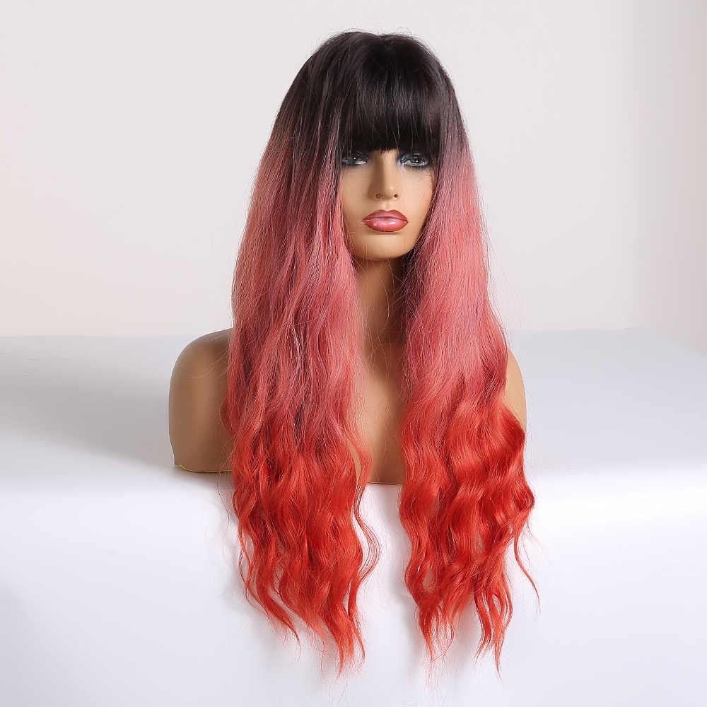 Easihair Long Wave Brown untuk Rambut Pirang Ombre Sintetis Wig untuk Wanita Tubuh Gelombang Rambut Cosplay Wig Lolita Tahan Panas wig