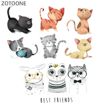 ZOTOONE Iron on Cartoon Cat Patches for Kids DIY Rabbit Bear Stickers for Clothing Patch Heat Transfers Bag Clothes Appliqued H image