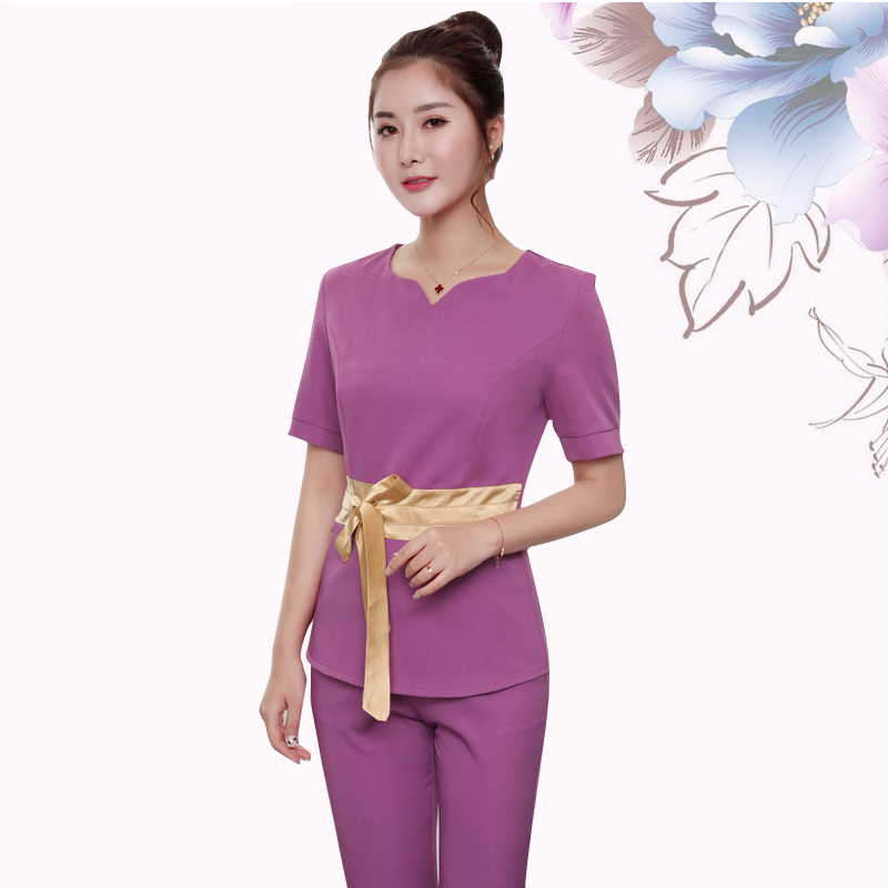 Summer Short Sleeve Beauty Salon SPA Female Fashion Work Clothing Hotel Waiter Work Clothes SPA Uniform Sauna Foot Bath Uniforms