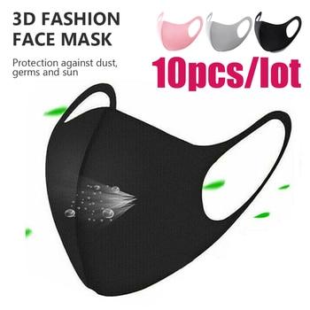 10pcs Unisex Washable Elastic Earloop Face Breathing Masks Reusable Anti Dust Cotton Mouth Mask Fashion Black Maska For Adults