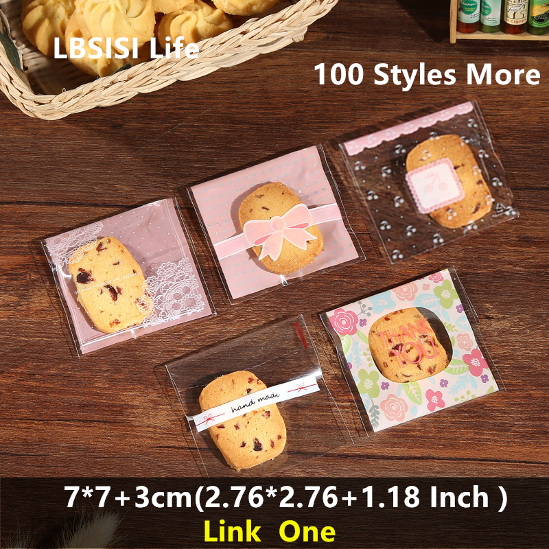 LBSISI Life 100pcs 7x7+3cm Self Adhesive Bag Nougat Candy Cookie Packaging OPP Jewelry Gift Poly Small Plastic Soap Bags