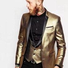Смокинги для жениха с двумя пуговицами, темно-золотые, с отворотом, мужские свадебные блейзеры, костюмы для званого обеда(куртка+ брюки+ жилет+ галстук