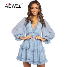 ADEWEL Sexy Back Open Floral Print Chiffon Dress Deep V Beach Holiday Dress Short Summer Dress Female Chic Boho Ruffle Dress open back floral print romper