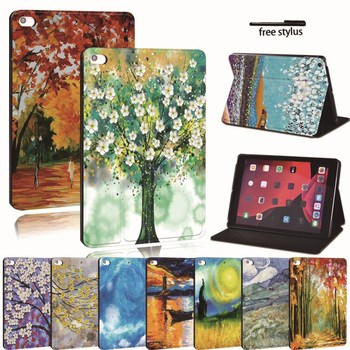 For Apple iPad mini 1 2 3 4 5 - PU Printed Leather Tablet Stand Folio Cover-Ultra-thin Painting tablet Stand Shockproof Case for ipad 2 3 4 5 6 7 air 1 2 3 pro 11 2018 2020 pu leather tablet stand folio cover ultra thin star colors slim case