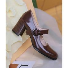 Mordoan sapatos de salto alto feminino, couro bovino legítimo mary jane, salto quadrado e grosso, primavera 2021