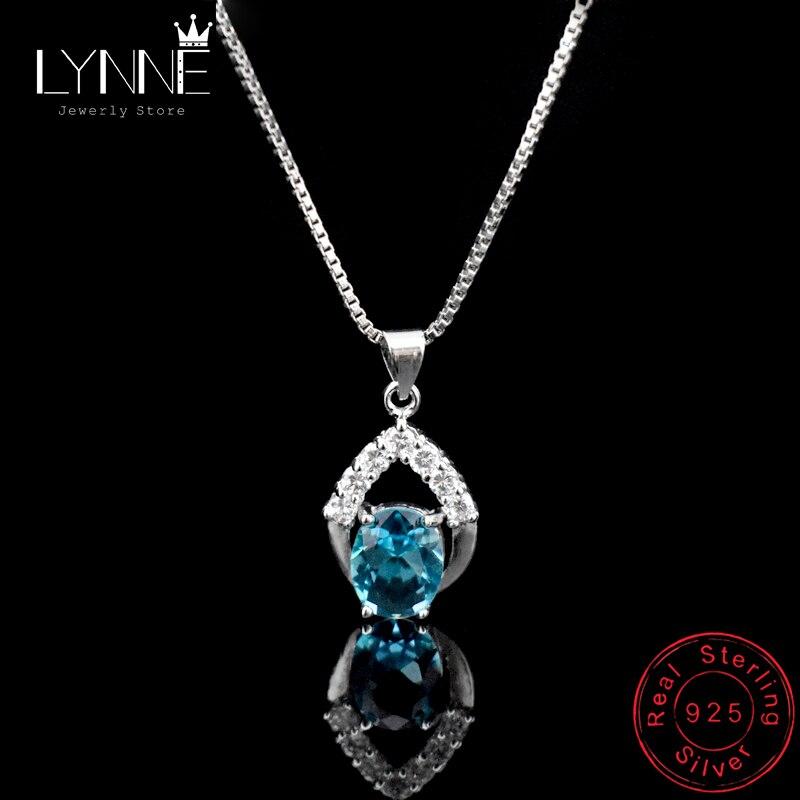 925 Sterling Silver Blue Cubic Zirconia Gemstone Fashion Women Pendant Necklace