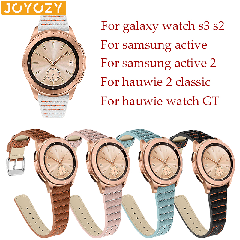 Joyozy Beautiful Watch Band Leather 22 Black For Samsung Galaxy Watch 42mm 46mm Classic Leather Strap For 22mm  Huawei 2 Classic