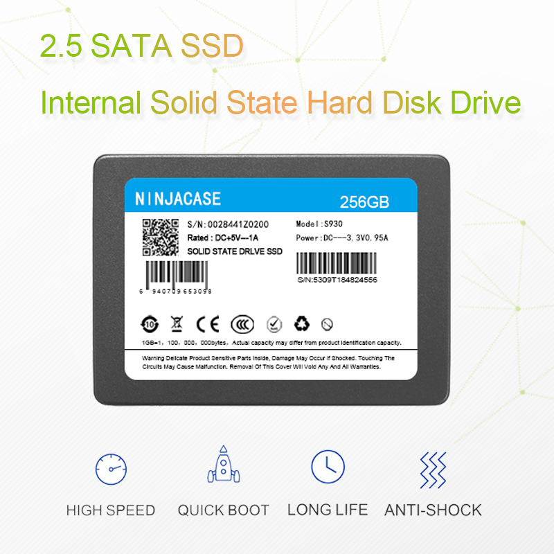 NINJACASE <font><b>SSD</b></font> 2.5 <font><b>SATA3</b></font> SATA6 60gb <font><b>120gb</b></font> <font><b>ssd</b></font> 240 gb 500GB 1TB 2TB Internal Solid State Hard Drive For Computer Desktop laptop PC image