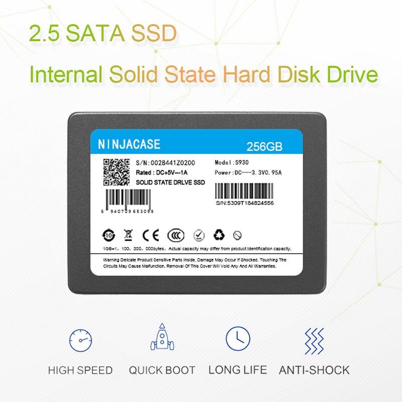 Rígido de Estado Sólido para Computador Ninjacase 60gb 120gb 240 gb 500 1 tb 2 Interno Disco Portátil Ssd 2.5 Sata3 Sata6