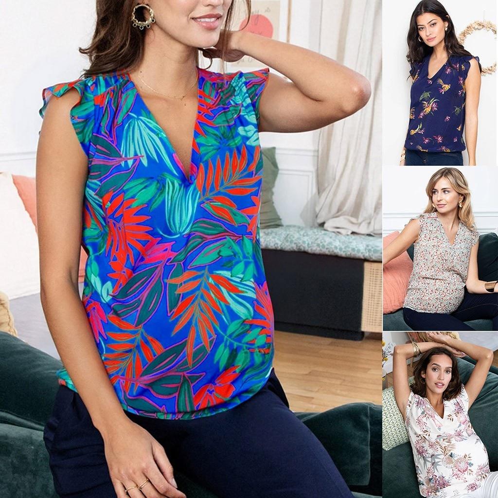Women Pregnant Maternity TShirt Tees Summer V-Neck Short Sleeve Printed Stripe Blouse Tops breastfeeding clothes nursing top