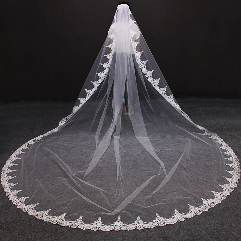 Long Lace Wedding Veil With Comb 4 Meters Ivory Color Bridal Veil 400cm One Layer Veil For Bride Wedding Accessories