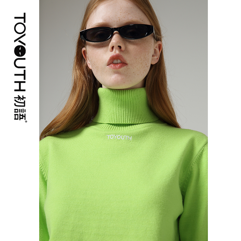 Toyouth Solid Long Sleeve Women Sweaters Embroidery Letter Turtleneck Pullover Candy Color Women Winter Bottoming Tops